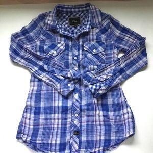 Rails blue plaid button up collared shirt